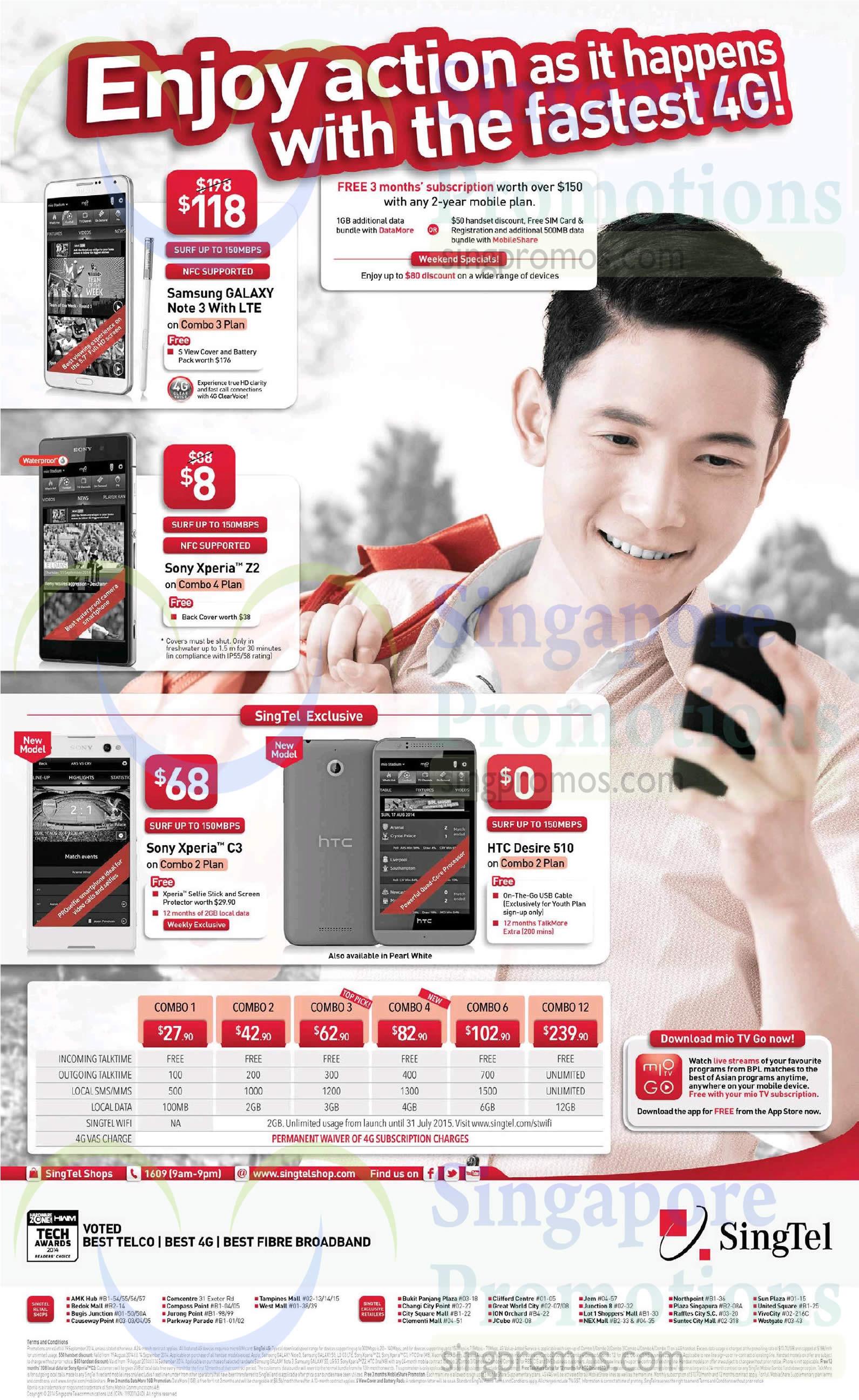 Samsung Galaxy Note 3, Sony Xperia Z2, Sony Xperia C3, HTC Desire 510