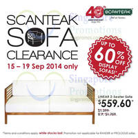 Scanteak Display Sofa Set Clearance 15 - 19 Sep 2014