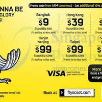 Scoot From $9 2hr Promo Air Fares 23 Sep 2014