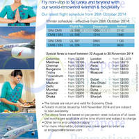 Read more about SriLankan Airlines Promotion Air Fares 5 Sep - 14 Nov 2014