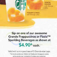 Starbucks $4.90 Frappucinos & Fizzios Promotion 23 - 28 Sep 2014