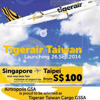 TigerAir Taipei Promo Air Fares 18 - 30 Sep 2014