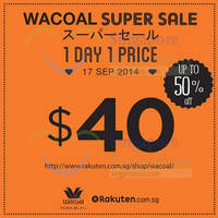 Wacoal Up To 50% OFF 1-Day Online Sale 17 Sep 2014