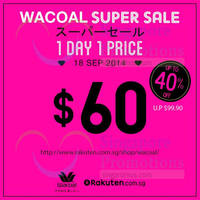 Wacoal Up To 40% OFF 1-Day Online Sale 18 Sep 2014