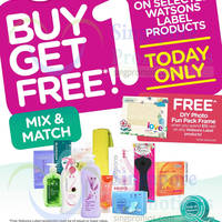 Watsons Buy 1 Get 1 FREE Selected Watsons Label 1-day Promo 24 Sep 2014
