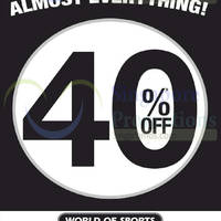 Read more about World of Sports 40% OFF Almost Everything 13 Sep 2014