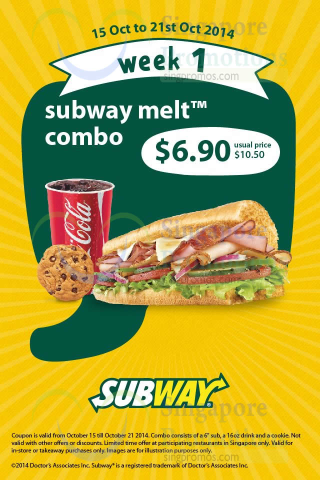 6.90 Subway Melt Combo
