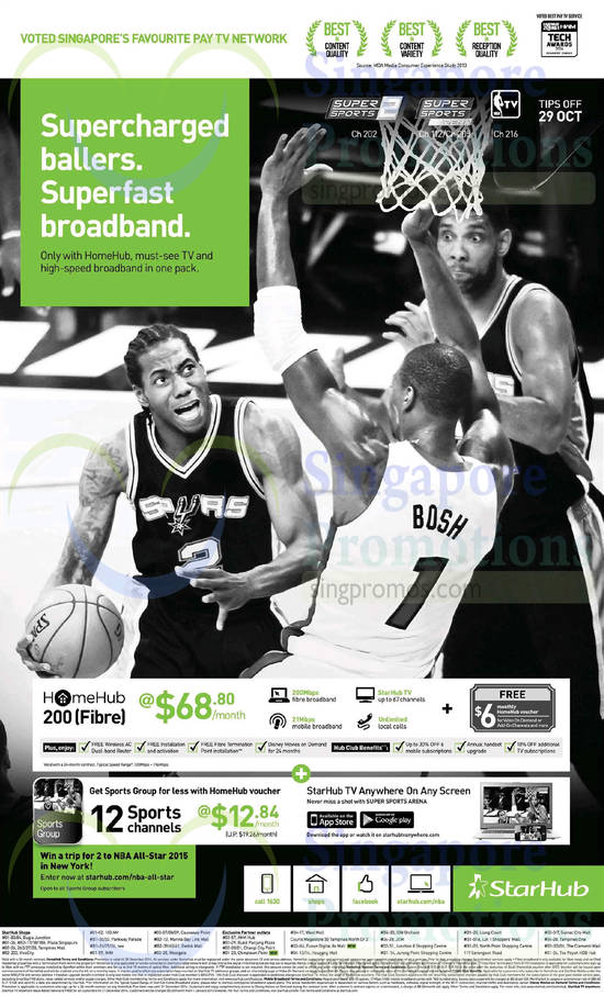 68.80 HomeHub 200 Fibre, 12.84 Sports Group Pack
