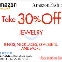 Amazon.com 30% OFF Jewellery Coupon Code (NO Min Spend) 23 - 30 Oct 2014