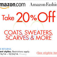 Read more about Amazon.com 20% OFF Coats, Sweaters, Scarves & More Coupon Code (NO Min Spend) 20 - 25 Oct 2014