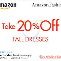 Amazon.com 20% OFF Fall Dresses Coupon Code (NO Min Spend) 23 - 30 Oct 2014