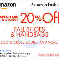 Read more about Amazon.com 20% OFF Fall Shoes & Handbags Coupon Code 4 - 9 Oct 2014
