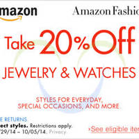 Read more about Amazon.com 20% OFF Jewellery & Watches (NO Min Spend) Coupon Code 4 - 6 Oct 2014