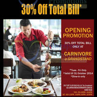 Read more about Carnivore 30% OFF Opening Promo (Tue - Fri) @ The Grandstand 21 - 31 Oct 2014