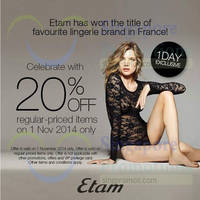 Etam 20% Off 1-Day Promo 1 Nov 2014