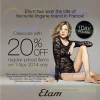 Etam 20% Off 1-Day Promo 1 Nov 2014