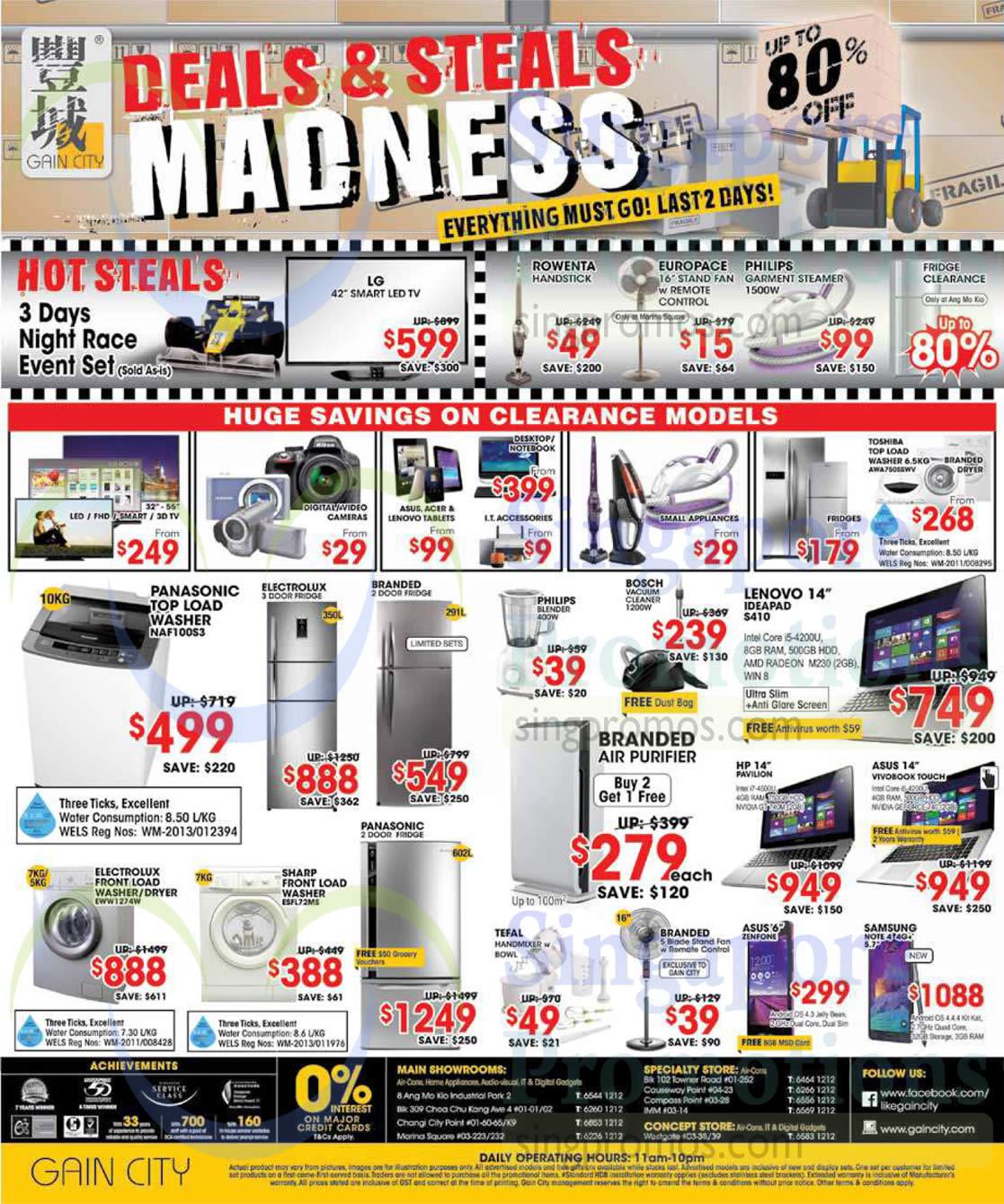 Fridges, Washers, Notebooks, Mobile Phones, Panasonic, Electrolux, Philips, Bosch, Asus, HP, Tefal