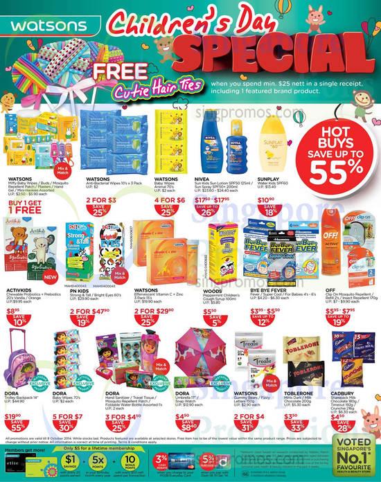 "PN Kids Strong & Tall / Bright Eyes, Watsons Effervescent Vitamin C + Zinc, Nivea Sun Kids Sun Lotion SPF50, Dora Trolley Backpack 14"", Sunplay Water Kids SPF60"