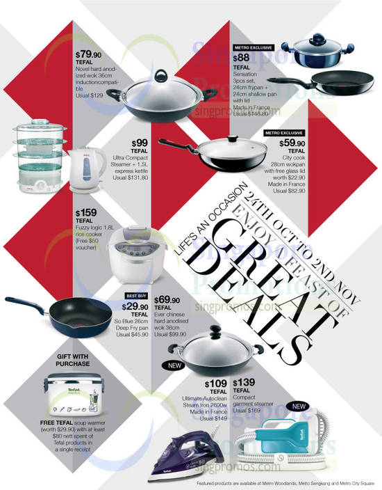 Tefal Novel Wok 36cm, Tefal City Cook 28cm Wokpan, Tefal Fuzzy Logic Rice Cooker, Tefal So Blue 26cm Deep Fry Pan, Tefal Ever Chinese Wok 36cm, Tefal Ultimate Autoclean Iron, Tefal Garment Steamer