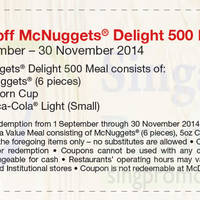 Read more about McDonald's $1 Off McNuggets Delight 500 Meal Coupon 1 Sep - 30 Nov 2014