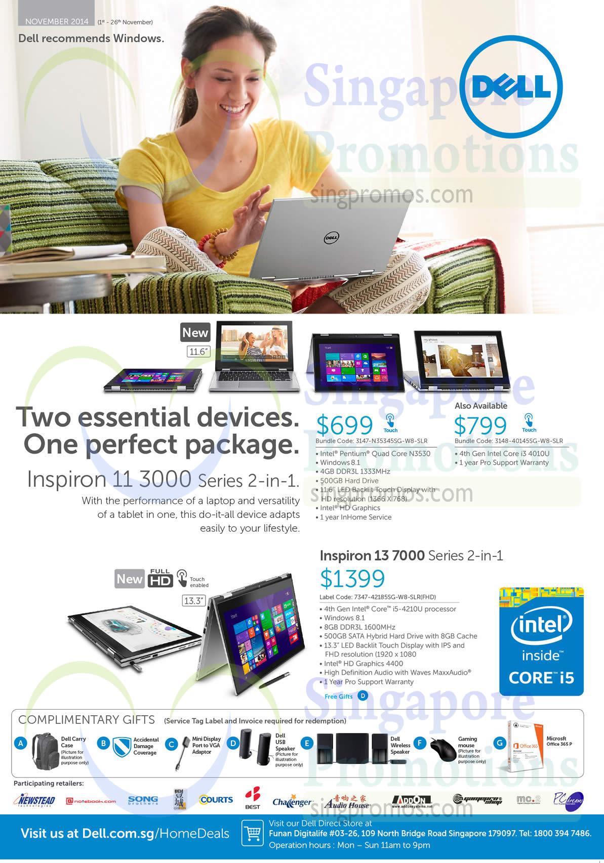 Dell 3147-N35345SG-W8-SLR Notebook, Dell 3148-40145SG-W8-SLR Notebook, Dell 7347-42185SG-W8-SLR(FHD) Notebook