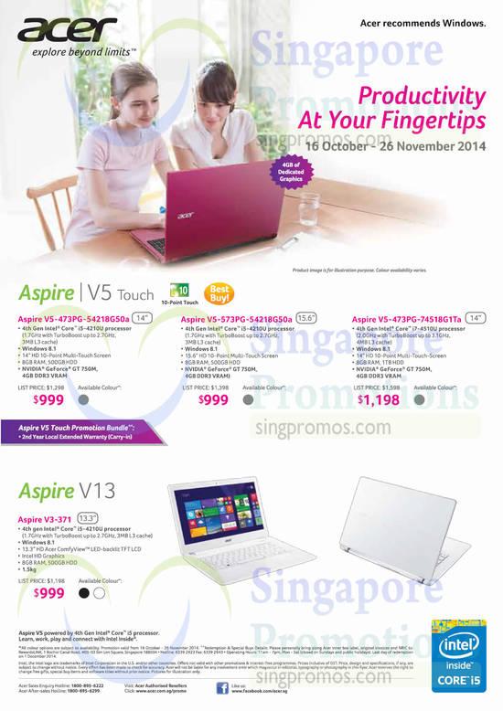 Acer V5-473PG-54218G50a Notebook, Acer V5-573PG-54218G50a Notebook, Acer V5-473PG-74518G1Ta Notebook, Acer V3-371 Notebook