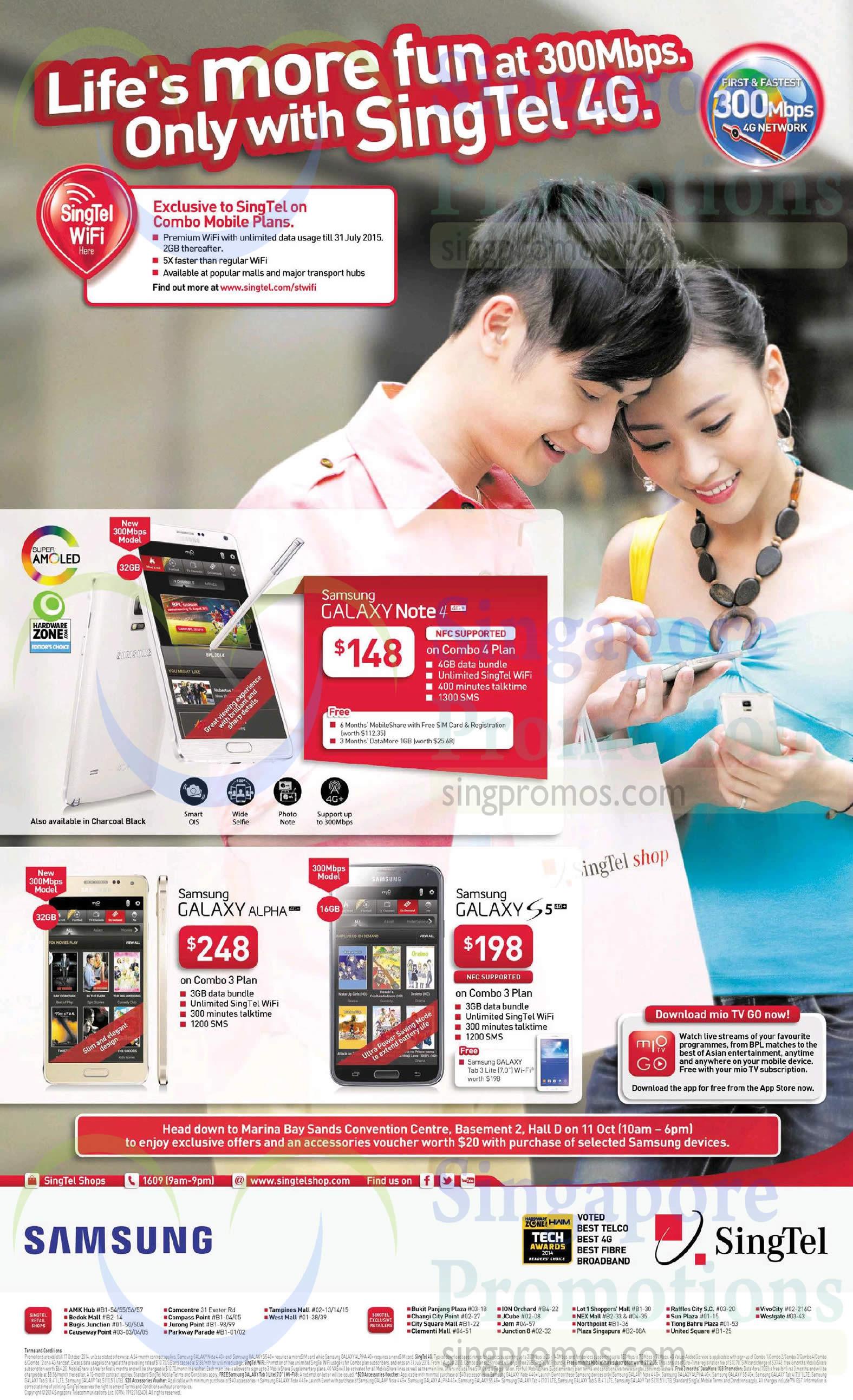 Samsung Galaxy Note 4. Samsung Galaxy Alpha, Samsung Galaxy S5, Samsung Roadshow