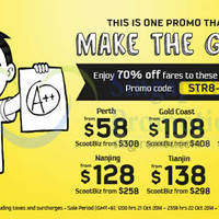 Scoot 70% OFF 2-Day Promo Air Fares 21 - 22 Oct 2014