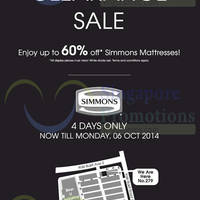 Read more about SleepSavvy Simmons Mattresses Clearance Sale 3 - 6 Oct 2014