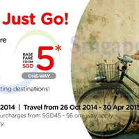 Read more about Air Asia From $5 (Base Fare) Promo Air Fares 20 - 26 Oct 2014