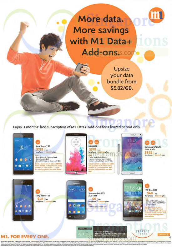 Sony Xperia Z3, Sony Xperia E3, Samsung Galaxy Ace 4, Samsung Galaxy Note 4, LG G3, HTC One E8