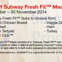 Read more about Subway $1 Off Subway Fresh Fit Meals Coupon 1 Sep - 30 Nov 2014