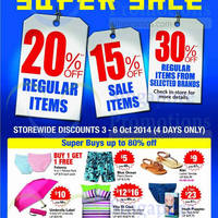 BHG 20% Off Storewide Super Sale 3 - 6 Oct 2014