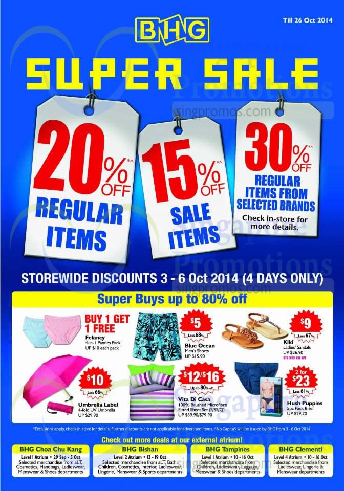 Super Buys up to 80 Percent Off, 20 Percent Off Regular Items, 15 Percent Off Sale Items, 30 Percent Off Regular Items from Selected Brands