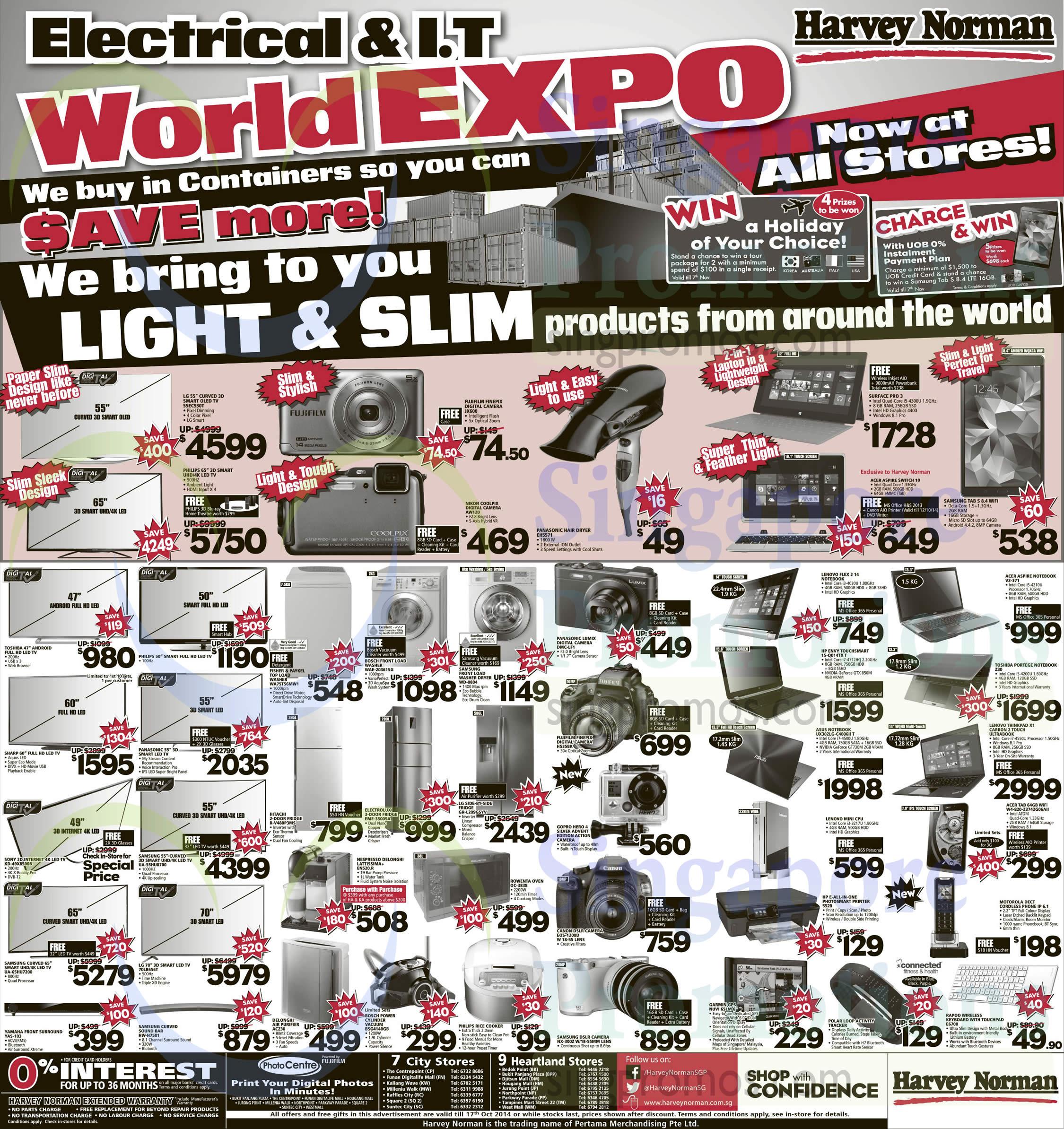 LG 55EC930T TV, Fujifilm JX600 Digital Camera, Nikon AW120 Digital Camera, Microsoft Surface Pro 3, Acer Aspire Switch 10 Notebook, Samsung Galaxy Tab S 8.4, Sony KD-49X8500B TV, Samsung UA-55HU8700 TV, Samsung UA-65HU7200 TV, LG 70LB656T TV, Yamaha YAS-103 Speakers, Samsung HW-H7501 Sound Bar, Fisher & Paykel WA75T56MW1 Washer, Bosch WAE-20361SG Washer, Samsung WD-0804 Washer, Hitachi R-V480P3MS Fridge, Electrolux EME-3500SA Fridge, LG GR-L209GSYV Fridge, Nespresso Delonghi Latissima+ Coffee Machine, Rowenta OC-3838 Oven, Delonghi AC230 Air Purifier, Bosch BSG4140GB Vacuum Cleaner, Panasonic DMC-LF1 Digital Camera, Fujifilm HS35BK Digital Camera, Gopro Hero 4 Video Camera, Canon EOS-1200D DSLR Digital Camera, Samsung NX-300Z DSLR Digital Camera, Acer V3-371 Notebook, HP 15-Q014TX T Notebook, Toshiba Z30 Notebook, ASUS UX302LG-C4006H Notebook, Acer W4-820-Z3742G06AII Tablet and HP 5520 Printer