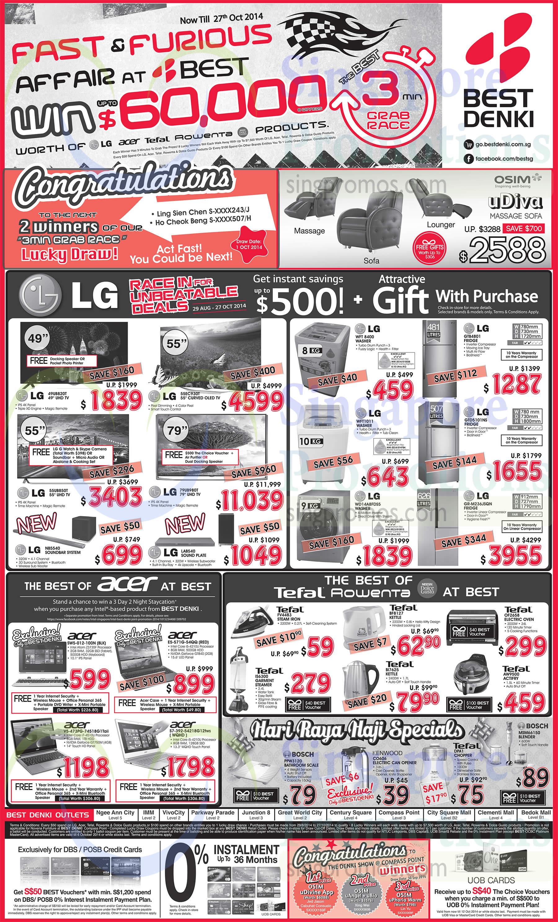 LG 49UB820T TV, LG 55UB850T TV, LG 55EC930T TV, LG 79UB980T TV, LG NB5540 Soundbar, LG LAB540 Soundplate, LG WFT8400 Washer, LG WFT1011 Washer, LG WD14A8FDS5 Washer, LG GTB4801 Fridge, LG GTD5101NS Fridge, LG GR-M236JSQN Fridge, Acer SW5-012-100N Notebook, Acer V5-473PG-74518G1Taii Notebook, Acer S7-392-54218G12tws Notebook, Acer E5-571G-54QQ Notebook, Bosch PPW3120 Bathroom Scale, Tefal FV4483 Iron, Tefal IS6300 Garment Steamer, Tefal BF8127 Kettle, Tefal BI7625 Kettle, Tefal DPA1 Chopper, Bosch MSM66150 Blender, Tefal OF2658 Oven and Tefal AW9500 Actifry