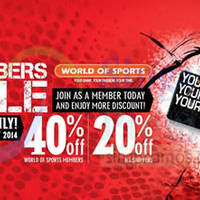 World of Sports 20% OFF Promotion 22 - 26 Oct 2014