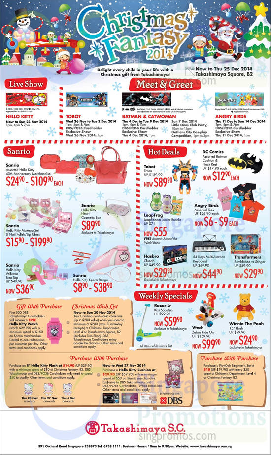 21 Nov Live Shows, Meet n Greet, Hot Deals, Weekly Specials, Sanrio Hello Kitty Items, Purchase With Purchase, Christmas Wish List