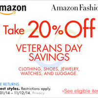 Read more about Amazon.com 20% OFF Clothing, Shoes, Jewellery, Watches & Luggages Coupon Code (NO Min Spend) 5 - 12 Nov 2014