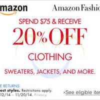 Read more about Amazon.com 20% OFF Clothing Coupon Code 13 - 20 Nov 2014