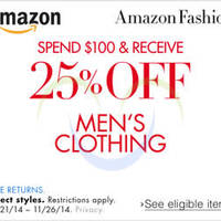 Read more about Amazon.com 25% OFF Men's Clothing Coupon Code 24 - 27 Nov 2014