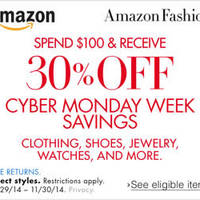 Amazon.com 30% OFF Clothing, Shoes, Jewellery & More Coupon Code 29 Nov - 1 Dec 2014