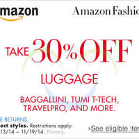 Read more about Amazon.com 30% OFF Luggage (NO Min Spend) Coupon Code 13 - 20 Nov 2014