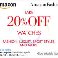 Read more about Amazon.com 20% OFF Watches (NO Min Spend) Coupon Code 13 - 17 Nov 2014