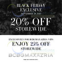 BCBGMAXAZRIA 20% OFF Storewide Black Friday Promo 28 Nov 2014