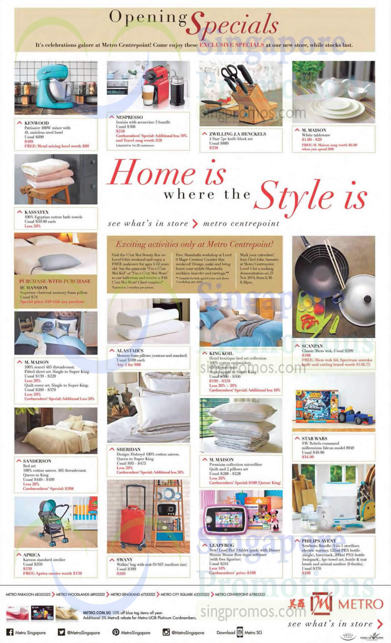 Beddings, Baby Essentials, Kitchen Appliances, Toys, Fitted Sheet Sets, Quilt Sets, Pillows, Strollers, Kenwood, King Koil, Aprica