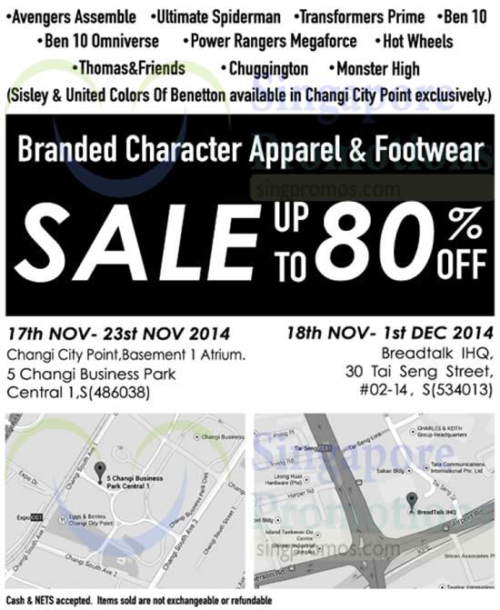 Branded Character Apparel And Footwear Sale 20 Nov 2014