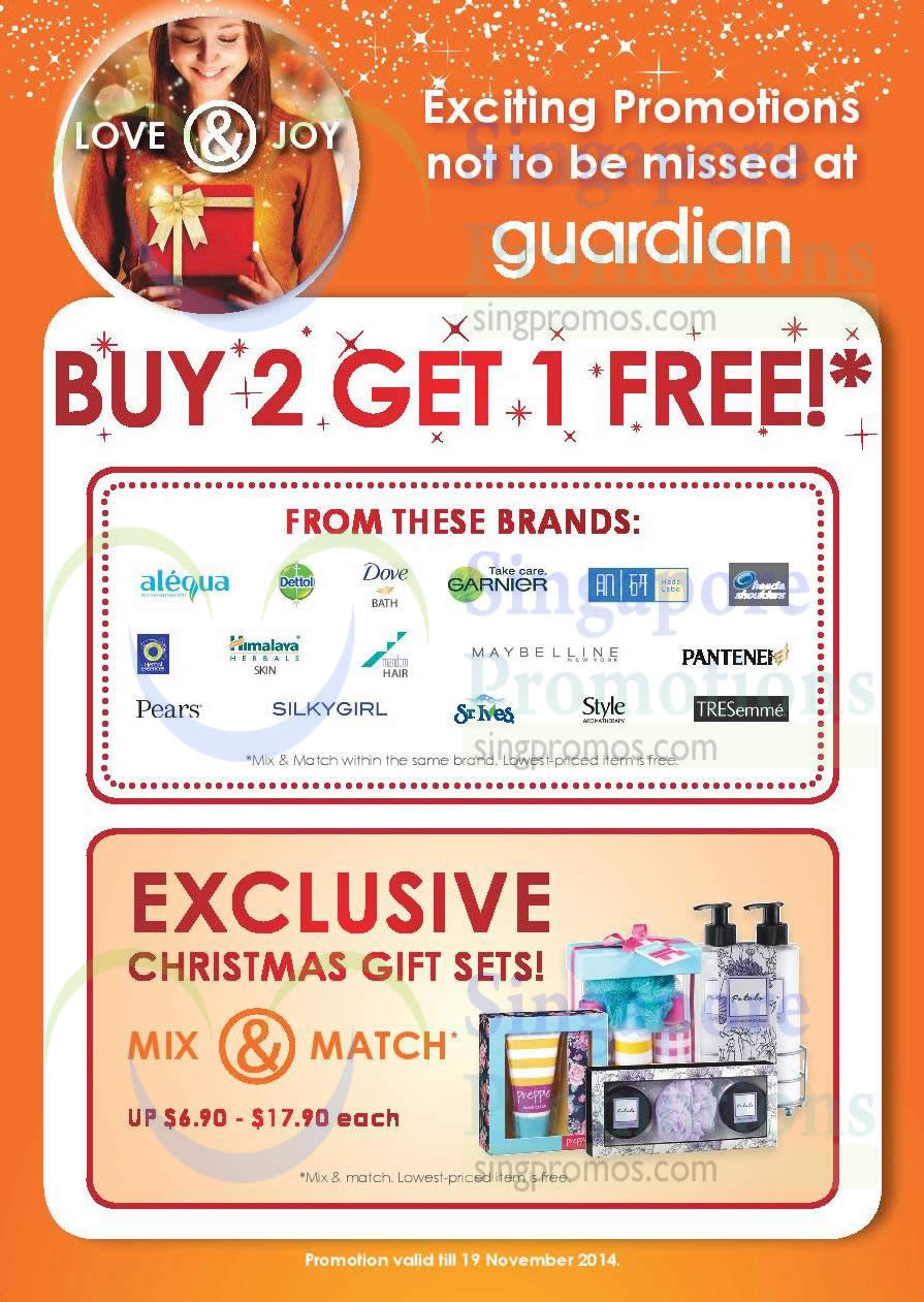 Buy 2 Get 1 Free Selected Brands, Christmas Gift Sets Mix n Match