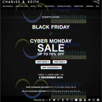 Charles & Keith Up To 70% OFF Online Black Friday & Cyber Monday Sale 28 Nov - 2 Dec 2014
