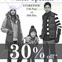 Coldwear 30% Off Winter Specials Promo 27 Nov - 10 Dec 2014